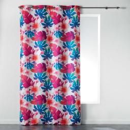 Rideau a oeillets 140 x 260 cm polyester imprime fun flowers Blanc