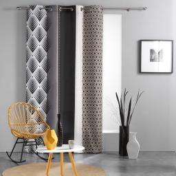 Rideau a oeillets 140 x 260 cm polyester imprime galileo Noir
