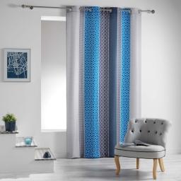 Rideau a oeillets 140 x 260 cm polyester imprime galliance Bleu