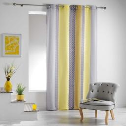 Rideau a oeillets 140 x 260 cm polyester imprime galliance Jaune