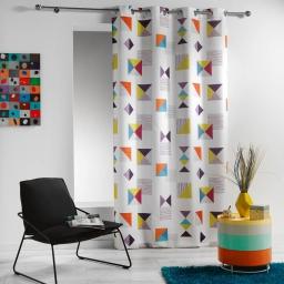 Rideau a oeillets 140 x 260 cm polyester imprime geomix Blanc