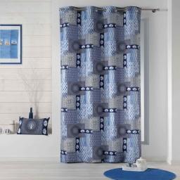 Rideau a oeillets 140 x 260 cm polyester imprime hendaye Bleu