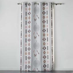 Rideau a oeillets 140 x 260 cm polyester imprime indila Anthracite/Naturel