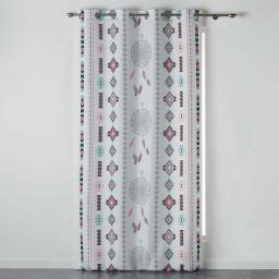 Rideau a oeillets 140 x 260 cm polyester imprime indila Blanc/Menthe