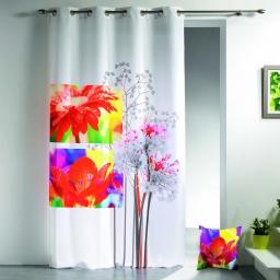 rideau a oeillets 140 x 260 cm polyester imprime iris