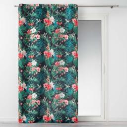 Rideau a oeillets 140 x 260 cm polyester imprime jardin exotique Noir