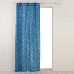 Rideau a oeillets 140 x 260 cm polyester imprime kessy Bleu