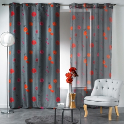 Rideau a oeillets 140 x 260 cm polyester imprime mahina Anthracite