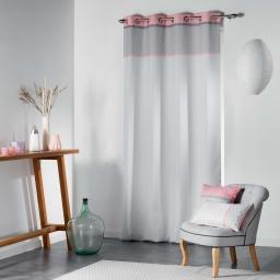 Rideau a oeillets 140 x 260 cm polyester imprime matik Rose