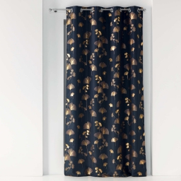Rideau a oeillets 140 x 260 cm polyester imprime metallise bloomy Marine/or