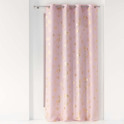 Rideau a oeillets 140 x 260 cm polyester imprime metallise bloomy Rose/or