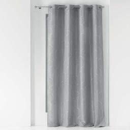 Rideau a oeillets 140 x 260 cm polyester imprime metallise domea Gris/argent
