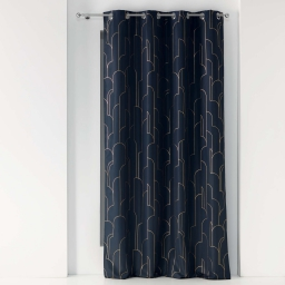 Rideau a oeillets 140 x 260 cm polyester imprime metallise domea Marine/or