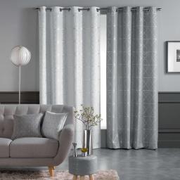 Rideau a oeillets 140 x 260 cm polyester imprime metallise quadris Blanc/Argent