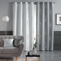 Rideau a oeillets 140 x 260 cm polyester imprime metallise sensalia Blanc/Argent