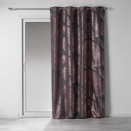 Rideau a oeillets 140 x 260 cm polyester imprimé métallisé veggy Anthracite/rose