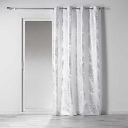 Rideau a oeillets 140 x 260 cm polyester imprimé métallisé veggy Blanc/argent