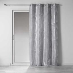 Rideau a oeillets 140 x 260 cm polyester imprime metallise veggy Gris/argent