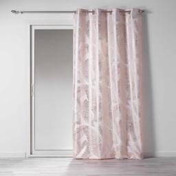 Rideau a oeillets 140 x 260 cm polyester imprime metallise veggy Rose/or Rose