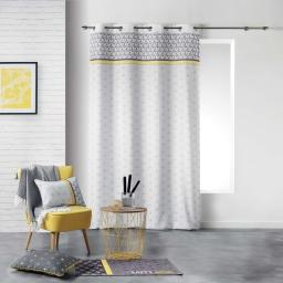 Rideau a oeillets 140 x 260 cm polyester imprime mirade Jaune