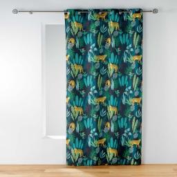 rideau a oeillets 140 x 260 cm polyester imprime mystic jungle