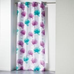 Rideau a oeillets 140 x 260 cm polyester imprime natae Bleu