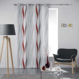 Rideau a oeillets 140 x 260 cm polyester imprime ondulys Rouge