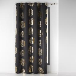 Rideau a oeillets 140 x 260 cm polyester imprime palmette Anthracite/Or