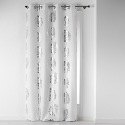 Rideau a oeillets 140 x 260 cm polyester imprime palmette Blanc/Argent