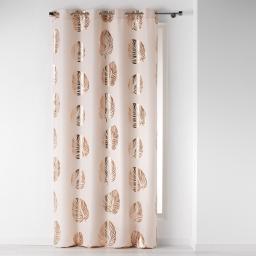 Rideau a oeillets 140 x 260 cm polyester imprime palmette Rose/Cuivre