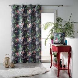 Rideau a oeillets 140 x 260 cm polyester imprime paradizio Anthracite