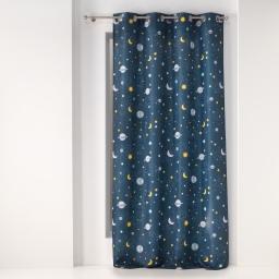 Rideau a oeillets 140 x 260 cm polyester imprime petit astronaute Bleu