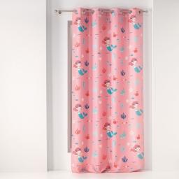 Rideau a oeillets 140 x 260 cm polyester imprime petite sirena Rose
