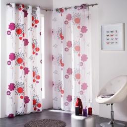 Rideau a oeillets 140 x 260 cm polyester imprime pollen Rose