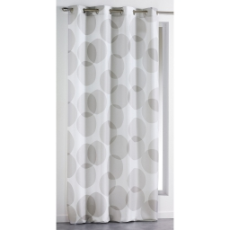 Rideau a oeillets 140 x 260 cm polyester imprime reflecto Taupe