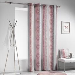 Rideau a oeillets 140 x 260 cm polyester imprime serpentine Rose