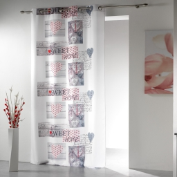 rideau a oeillets 140 x 260 cm polyester imprime sweet home