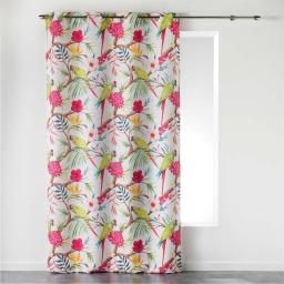 Rideau a oeillets 140 x 260 cm polyester imprime toucana Blanc