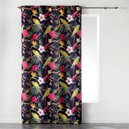 Rideau a oeillets 140 x 260 cm polyester imprime toucana Prune