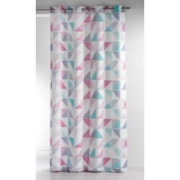 Rideau a oeillets 140 x 260 cm polyester imprime triangles Rose