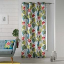 rideau a oeillets 140 x 260 cm polyester imprime tropical flower
