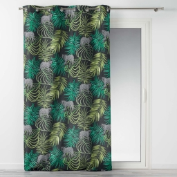rideau a oeillets 140 x 260 cm polyester imprime tropical green