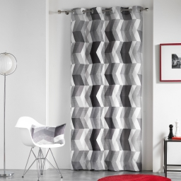 Rideau a oeillets 140 x 260 cm polyester imprime ultragraphic Noir/Blanc