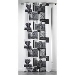 Rideau a oeillets 140 x 260 cm polyester imprime vie sauvage Blanc
