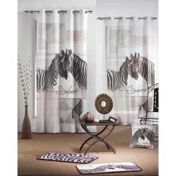 rideau a oeillets 140 x 260 cm polyester imprime zebrine des. place