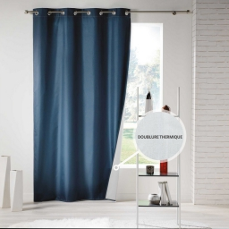 Rideau a oeillets 140 x 260 cm polyester uni thermique icemount Navy