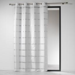 Rideau a oeillets 140 x 260 cm shantung bandes argent link Blanc