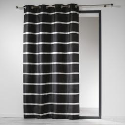 Rideau a oeillets 140 x 260 cm shantung bandes argent link Noir