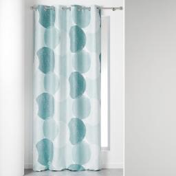 Rideau a oeillets 140 x 260 cm suedine imprimee osmose Bleu