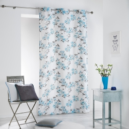 Rideau a oeillets 140 x 280 cm coton imprime ashley Bleu